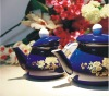 ENAMEL TEAPOT WITH WOODEN HANDLE AND DECAL --ZH1.0-1.8-E