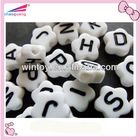 Acrylic flower magnetic white alphabet/letter beads with black or colorful words