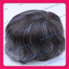 [Super quality] 2012 New style Top quality 8'' gray color men's toupee for elder man