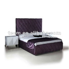 modern bed, bed furniture, purple bed, upholstered purple fabric bed