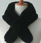black warmly faux rabbit fur scarf