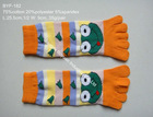 knitted 5 toes cotton socks with jacquard frog face
