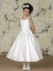 Wide Shoulder Straps Square Neckline Asymmetrically Pleated Bodice Tie-back Sash Full Circle Box Pleated Skirt Flower Girl Dress
