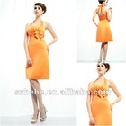 Attractive knee length orange color ruffled halter top bridesmaid dresses