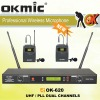 OK-620 Dual Channels/UHF PLL 32/99 channels microphone