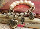Euramerican Fashion vintage pearl perfume heart high-heeled shoes bracelet jewelry