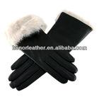 Ladies' Black Leather Gloves with White Rabbit Cuff