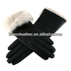 Ladies' Black Leather Gloves with White Rabbit Cuff