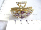 Purple and clear crystal half circle alloy hair claw clip YTC-013