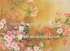 wallpaper with peony and bird, interior building decorative painting