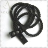 Women double braided rope belt with snaps