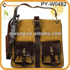 wholesale handmade waxed canvas shoulder bag with leather trim