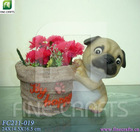 Polyresin dog statue tabletop flower vases