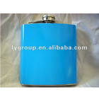 New 6oz Light Blue Wrapped Stainless Steel Alcohol Hip Flask