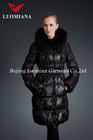 shiny women winter down feather padding filled fox fur jacket