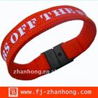 silk screen printing logo polyester cuff bracelet