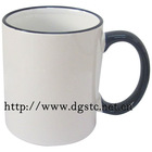 11oz Ceramic Sublimation Coated Color Rim Mug (Dark Blue)