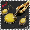 Indian Bridal Jewelry Sets Vintage Golden Round Yellow Acrylic CZ String Necklace Earrings Set AS1637