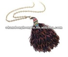 2012 feather Color drill peacock necklace