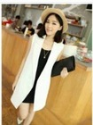 Western Style V-neck Pure Color Long Vest White JM12090311