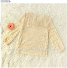 Lady long sleeve round collar lace fashion blouse