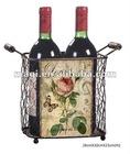 Antique elegant metal wine rack with flower