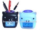 Plastic mini pig calendar penholder clock and money saving