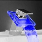 led waterfall faucet water power light basin waterfall tap