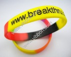debossed and filled colour silicon wristbands
