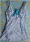 Sweet Heart Spotted V-neck Padded Cups Swimwear Blue HD12061512