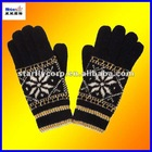 100%acrylic magic five fingers jacquard gloves#STG1201
