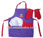 Wal-Mart supplier cotton Child kitchen apron oven mitt chindren Chef hat SET