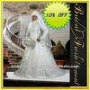 Hot Sale Satin High Neck Long Sleeve Appliqued Islamic Wedding Dress