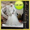 Hot Sale Satin High Neck Long Sleeve Appliqued Islamic Wedding Dress