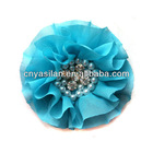 Chiffon puff flower with Pear and Rhinestone