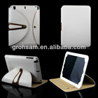 For iPad Mini Stand Leather Cover Metal Buckle White