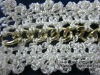 Fashion Lace rhinestone/ bead trimming/ beaded lace trim/ mesh fabric rhinestone/ bead ribbon