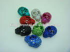 wholesale!13mm*20mm hollowed-out Skull cz crystal spacer beads/pendant fit shamballa bracelet