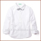 Long Sleeve Boys 100% Cotton Preppy White Shirt