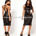 Midi Dress in Mermaid Sequin Cloth Fashion Clothing
