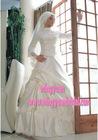unique design hot sale 2011 round neckline classic with race muslim wedding gown