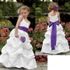 Iridescent Taffeta Dress with a shirred scoop neck bodice and spaghetti tie straps Cute White Children Pary Dresses GD102