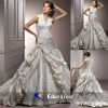 2012 Elegant V Neck White or Ivory Satin Lace Embellishment Wedding Dress