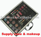 aluminum cosmetic case with lip gloss and lipstick etc