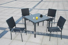 Dinning set - aluminium glass table with stacking chairs