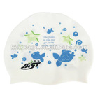 Soft durable and skid-proof popular cute animal print silicone swimming cap,swim cap,children cap