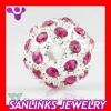 Silver Pink Shamballa Crystal Beads 12mm
