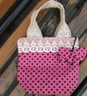 sweet cutie cotton tote bag with lace design for girls