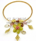"""Champagne Crystal & Green Onyx Chunk & Yellow FW Pearl Necklace 15"""""""