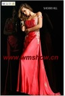 2011 Latest Designed Spaghetti Strap Appliqued Red Long Sexy Evening Dress